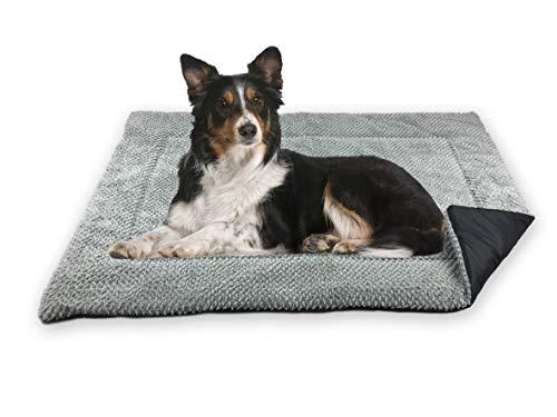 FLUFFINO® Hundedecke - Flauschig, Weich u. Waschbar (Größe M, 88 x 55 cm, grau)- erhöhte Rutschfestigkeit durch Gumminoppen - Für große u. kleine Hunde o. Katzen - Hundematten/Hundekissen, Katzendecke