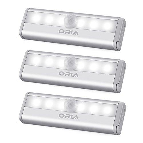 ORIA Schrankbeleuchtung Licht, 6 LEDs Bewegungsmelder Licht Sensor Schrank Licht, Auto EIN/AUS Led Beleuchtung Lampe, Treppen Licht Wandbeleuchtung Perfekt für Schubladen, Schuh Kabinett, Flur-Weiße - Regal Schubladen Streifen