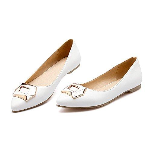VogueZone009 Damen Rein PU Leder Ohne Absatz Rund Zehe Ziehen auf Flache Schuhe, Weiß, 35