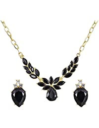 Bold N Elegant Gold Plated Crystal Fancy Party Wear Necklace Jewellery Set / Pendant Set With Earrings