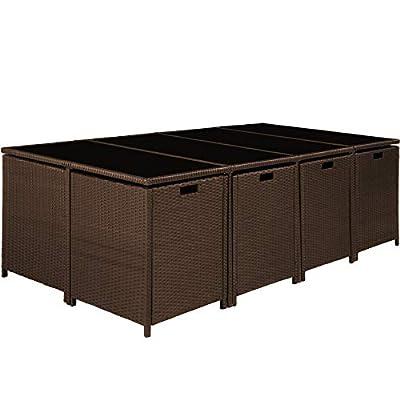TecTake Poly Rattan 8+4+1 Sitzgruppe | 8 Stühle 4 Hocker 1 Tisch | inkl. Schutzhülle & Edelstahlschrauben | - Diverse Farben - von TecTake - Gartenmöbel von Du und Dein Garten
