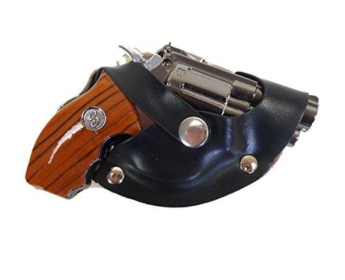 Westernwear-Shop Western Gürtelschnalle Pistol & Holster - entnehmbarer Revolver - Mit Feuerzeug und LED-Lampe Gürtelschnalle Gürtelschließe Western Belt Buckle Westerngürtelschnalle Schwarz