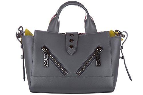 Kenzo borsa donna a mano shopping in pelle nuova kalifornia gommato grigio