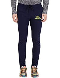 American-Elm Nevy Blue Cut Brand Logo Printed Trackpant for Men