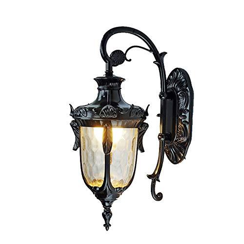 DEjh Exterior Europeo Impermeable Rust Lámpara de Pared Sala de Estar Pasillo Jardín Balcón Patio Estilo Innovador Diseño (Color : Negro)