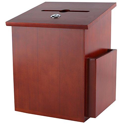 My Charity Boxen ~ Holz Vorschlagsbox ~ Wahlurne mit Pocket ~ Sperren Scharnierdeckel und Stift-~ für zinntheken Gebrauch ~ Dunkle Mahagoni-Holz 07