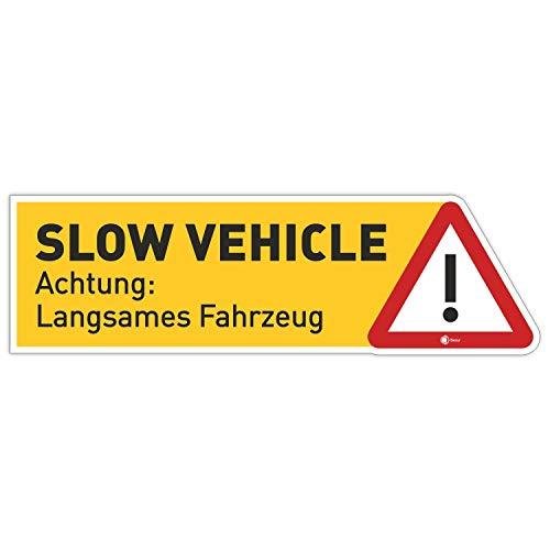 iSecur Aufkleber Slow Vehicle I 10 x 3 cm I Achtung langsames Fahrzeug I als Hinweis oder Fun-Aufkleber für Oldtimer Bulli Auto Roller I kfz_359