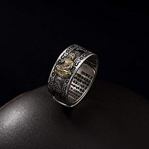 Aoligei Einstellbarer Ring S990 Sterling Silber männlichen und Weiblichen Metal Punk Buddha Ring (Männliche Sterling Silber Ringe)