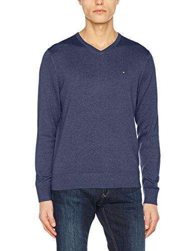 Tommy Hilfiger Herren Pullover Cotton Silk Vneck Blau (Vintage Indigo Htr 495) Small