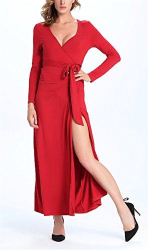 Blansdi Damen Mädchen Frauen Herbst Beiläufig Elegant Slim fit Tiefem V-Ausschnitt Langarm Hemdkleid hoch Split Kleid Blusenkleid T-Shirt A-Linie Partykleid Sommerkleid Maxikleid Shirt Kleid mit Gurt Rot
