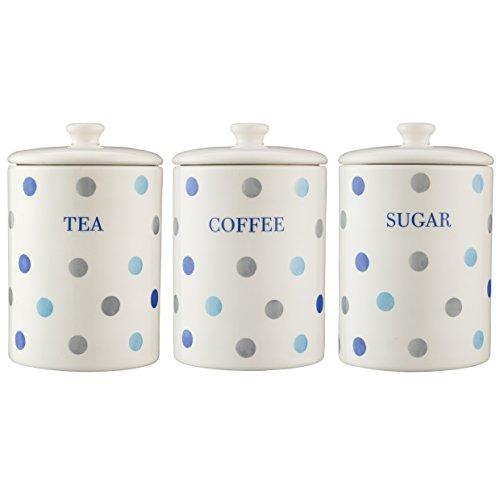 Price & Kensington Padstow Blau Polka Dot Tee Kaffee Zucker-Set mit Glas mit großer, Kilner-Handtuch Polka Dot Tee-set