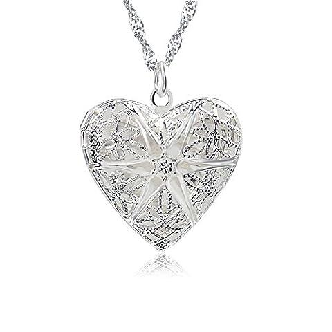 Medaillon Herz Amulett 925 Sterling Silber Foto Bild Halskette Kette Anhänger (Sterling Silber Diamant-medaillon)
