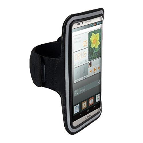 Galleria fotografica kwmobile fascia da braccio sportiva per Huawei Ascend Mate 7 - jogging corsa borsa da sport fascia fitness con scomparto per chiavi nella fascia da braccio in nero
