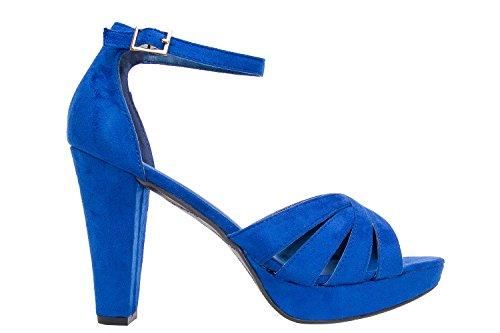 Andres Machado.AM5073.Sandales Bracelet Suédine.Pour Femmes.Petites Pointures 32/35 et Grandes Pointures 42/45. bleu klein