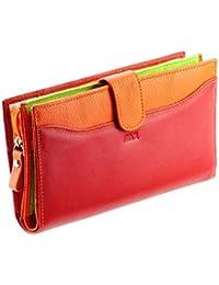 Cartera de mujer / Billetero de piel rojo-naranja N1553 Cartera - Stylo/Estilete