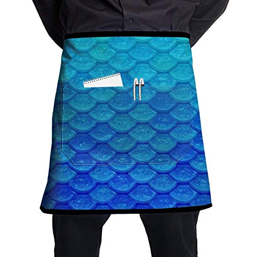 Mermaid Fish Scale Waitress Apron - Durable Polyester Waist Bib Apron with Pockets Long Ties Extra Coverage Commercial Grade Server Aprons Comfortable Half Apron ()