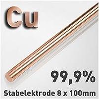 Kupfer-Stab-Anode/Elektrode (8 x 100 mm) für Kupferelektrolyt/Galvanik 10 cm Cu 99,9