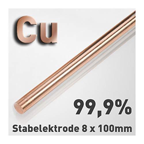 Cobre - Varillas de metal puro, 8 x 100 mm, elemento químico #29, para el análisis comparativo de las propiedades del material, muestras de referencia, pruebas de materiales