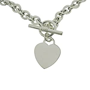 Toc Sterling Silver 34 gram 17 Inch Necklace with Heart Charm with T-Bar Closure