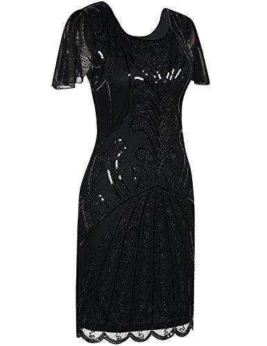 PrettyGuide Damen 20er Jahre Charleston Kleid Kurzarm Pailletten Gatsby Kleid XL Schwarz - 2