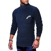 VRTUR Herren Strickpullover Langarm Winter Hoher Kragen Beiläufig Elastisch Oben Gestrickter Top Bluse Pullover