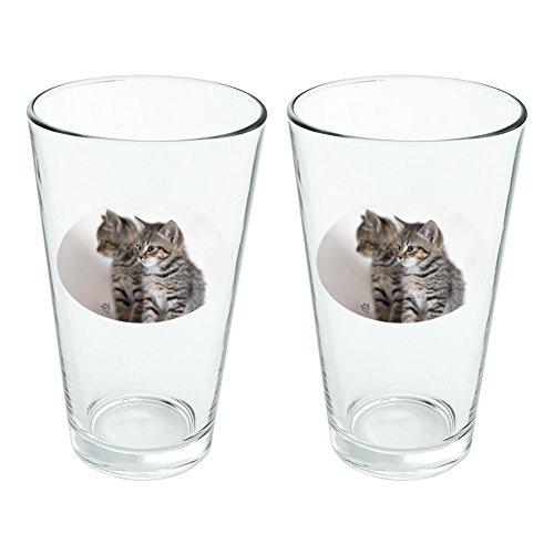 Domestic Shorthair Chat Image Miroir fantaisie 453,6 gram Pinte à boire en verre trempé Lot de 2