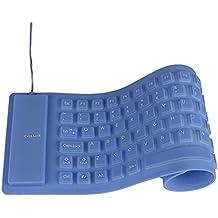 Silicona teclados, weant Ultra Slim plegable de silicona teclado impermeable resistente al polvo con cable enrollable USB de sílice teclado para ordenador portátil PC
