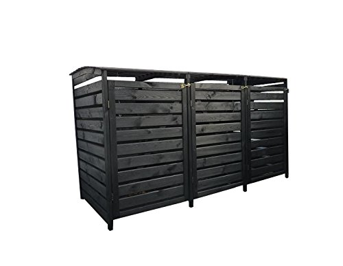 Gero metall Mülltonnenverkleidung, Mülltonnenbox Holz Anthrazit für Drei 240 Liter Mülltonnen