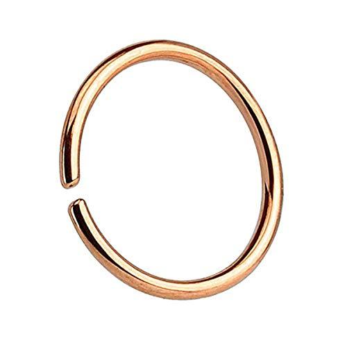 Piercingfaktor Universal Continuous Piercing Fake Hoop Ring Septum Tragus Helix Ohr Nase Lippe Nasenring Nasenpiercing Rosegold 1.0mm x 8mm