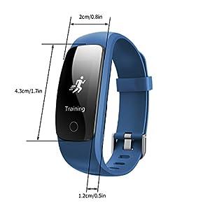 Miavogo ID107 Plus Pulsera Deportiva Inteligente Podómetro, Monitor Deporte, Ritmo Cardíaco,Llamada/Mensaje, Sueño, Captura Remota, Notificación Sedentaria, Smartband Reloj Pulsera de Actividad para Andriod IOS (Azul)