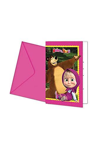 Procos 86562–Invitaciones con sobres Masha y oso, 6unidades, rosa