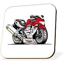 k1459-cst KOOLART Regalos Cartoon Triumph TT600motocicleta posavasos de madera para vasos y tazas (moto regalos y ideas de regalo)