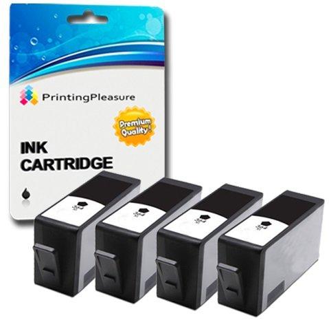 Printing Pleasure 4 Tintenpatronen kompatibel zu HP 364XL für HP Photosmart 5510 5515 5520 6510 6520 7510 7520 B110 B209 B210 C309 C310 Deskjet 3070A 3520 Officejet 4610 4620 - Schwarz, hohe Kapazität (C310 Ink Photosmart Hp)