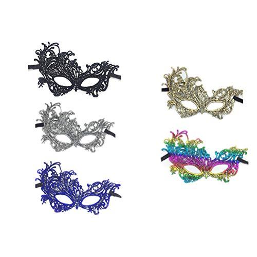 Spitze Maskerade Masken 6 stücke Frauen Venezianische Maske Karneval Augenmaske Halbe Gesichtsmaske für Halloween Karneval Prom Kostüm ()