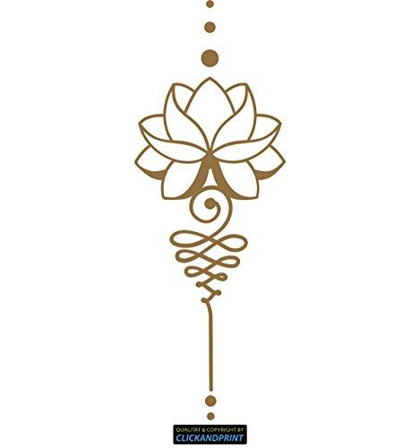 ber » Lotus Dekoration, 60x21,6cm, Gold Metallic • Dekoaufkleber / Autoaufkleber / Sticker / Decal / Vinyl ()