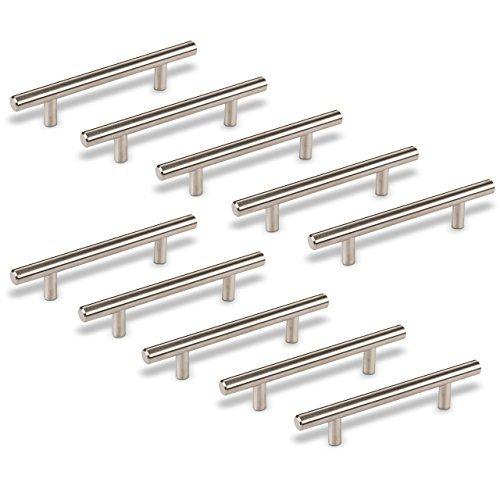 SO-TECH Maniglie G14 per ante cucina e armadi, acciaio inox satinato, viti incluse, Set di 10 x 96 mm distanza dei fori