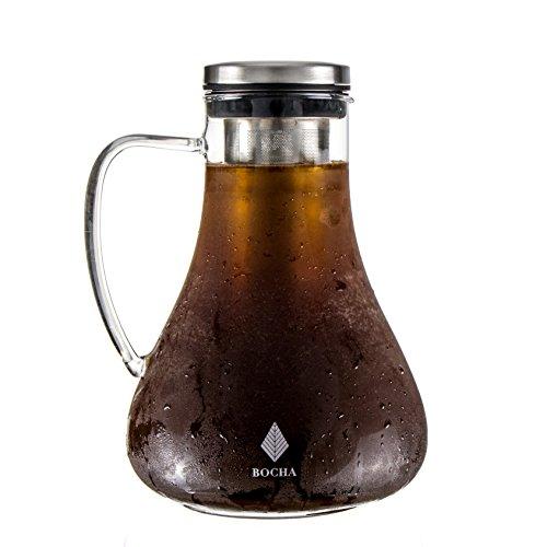 BOCHA Cafetière Manuelle avec Infuseur pour Café Froid ou Cold Brew Coffee - Carafe d' 1.5L en Verre avec infuseur en Acier Inoxydable Amovible, Couvercle étanche et Brosse de Nettoyage Bonus.