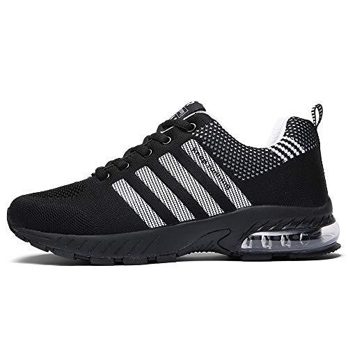 FUSHITON Chaussures de Course Air Coussin Semelle Respirant Confort Sport Athlétique Sneakers Baskets Femmes Hommes, Noir-2, 44 EU