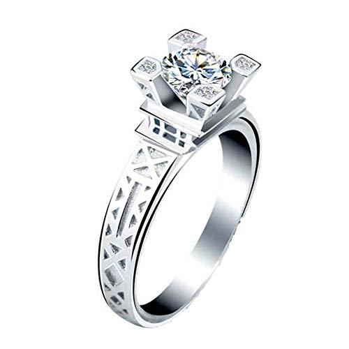 WZYMNJZ Turm Ring Hochzeit Ringe Für Frauen Silber Farbe Cz Strass Schmuck Zirkon Vintage Verlobungsring Schmuck - Vintage Cz-verlobungsringe Stil