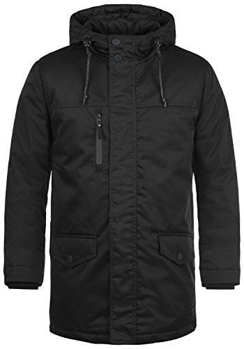 REDEFINED REBEL Mule Herren Parka lange Jacke mit Kapuze aus hochwertiger Baumwollmischung, Größe:M, Farbe:Black