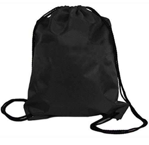 Covermason Nylon Kordelzug Rucksack Drawstring Backpack Sport Reise Draussen Rucksack Taschen (Schwarz) (Nylon-drawstring-rucksack Schwarzer)