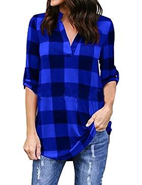 Zonsaoja La Mujer Camisetas Tops Sueltos Plaid Camisa Blusa Camiseta Manga 3/4