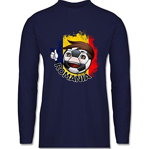 EM 2016 - Frankreich - Fußballjunge Rumänien - Longsleeve / langärmeliges T-Shirt für Herren Navy Blau