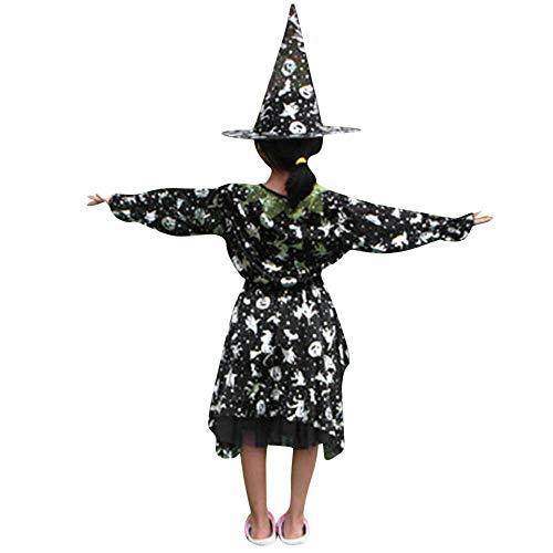 Rosennie Halloween Karneval Kürbis Kostüm Hexe Print Dance Kleid + Zauberer Hut Kinder Mädchen 2 STÜCKE Gedruckt Langarm Kleid Party Kleid Baby Winter Kinderkleidung Kleidung Set (Silber,M)