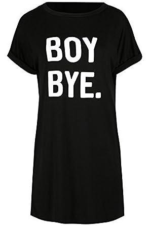 37d886a648a6 Womens Ladies Boy Bye Turn Up Sleeve Baggy Oversized Tunic PJ Dress T Shirt  Top