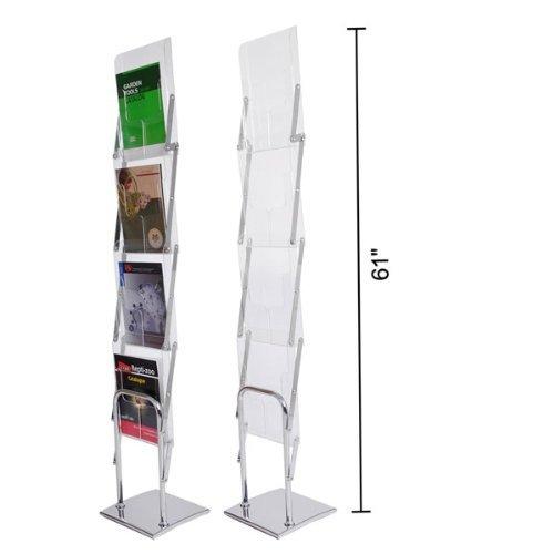 Folding Literature Stand Floor Magazine Rack 4 Pocket by Unitech (Rack Folding Magazine)