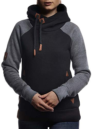 LEIF NELSON Damen Pullover-Hoodie Kapuze | Moderner Sweatshirt-Kapuzenpullover | Frauen Pulli Slim Fit|10245;M,SC