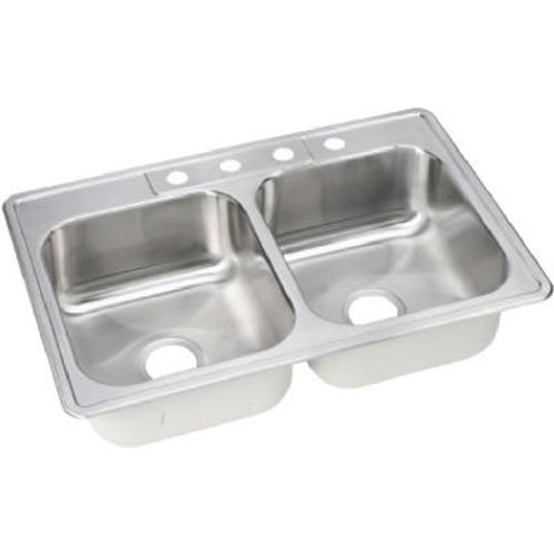 Elkay NLB33224 Neptune 33-by-22-by-8-Inch Double Bowl Kitchen Sink, Stainless Steel by Elkay -