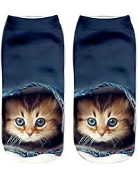 SHOBDW Mujeres Unisex Moda Popular Divertido Algodón Calcetines Cortos Lindo 3D Gato Impreso Tobillo Calcetines Calcetines