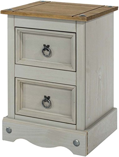 2 Schublade Nachttisch Holz-finish (CORE Products Corona grau 2Schublade Petite trüb gewachstes Kiefernholz-Finish Nachttisch)